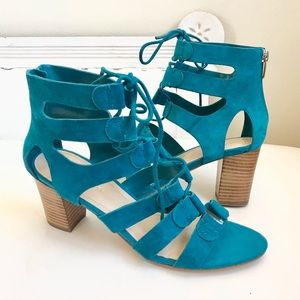 MARC FISHER GLADIATOR BLOCK HEEL TEAL SUEDE LACES